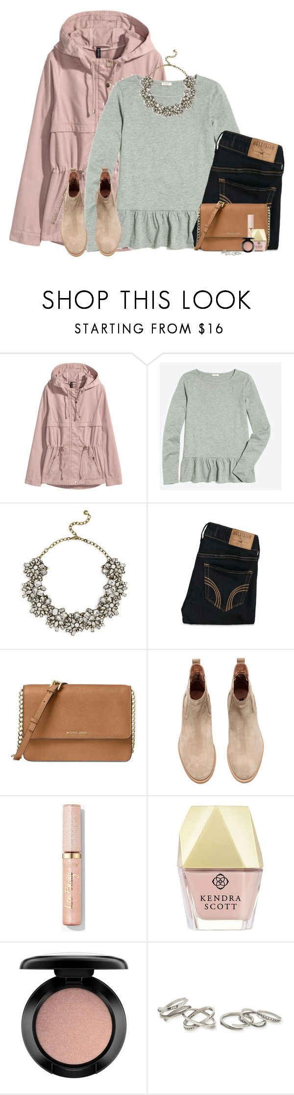 """""""Pink parka, gray peplum & statement necklace"""" by steffiestaffie ❤ liked on Polyvore featuring J.Crew, BaubleBar, Hollister Co., Michael Kors, Kendra Scott and MAC Cosmetics"""