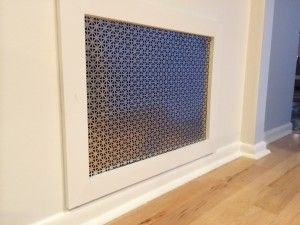 Return air vent cover - instead of the standard grill, we made this one from sheet metal with a Union Jack pattern. It was inspired by radiator covers!