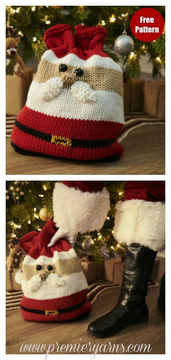 Christmas Gift Bag Free Knitting Pattern Christmas Gift Bags Christmas Knitting Knitting Patterns Toys