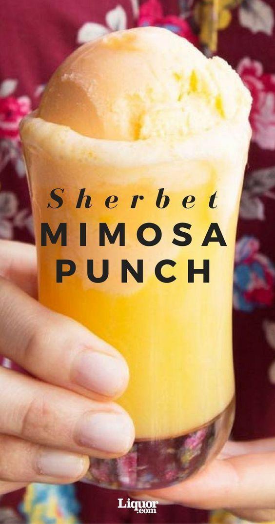 Orange Sherbet Mimosa Punch