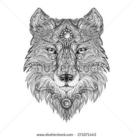 Tattoo Head Wolf Wild Beast Of Prey Handmade Black And