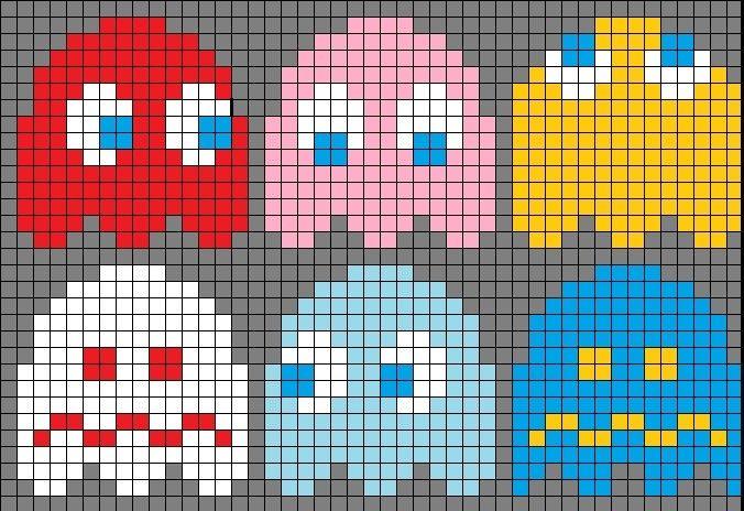 pacman cross stitch pattern | Pac man knitting pattern and mor