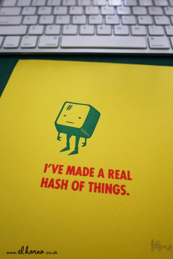 I've Made a Real Hash of Things Gocco Print by elhorno on Etsy, £16.00: Gocco Prints, Things Gocco