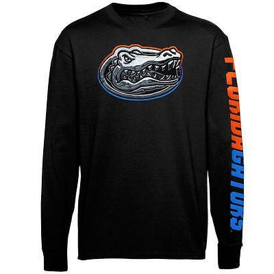 Mens-Florida-Gators-Black-Chrome-Logo-Long-Sleeve-T-Shirt