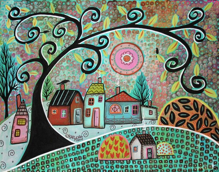Only Birds 14x11 Birds Houses Trees ORIGINAL Canvas PAINTING FOLK ART Karla G..NEW, for sale now...
