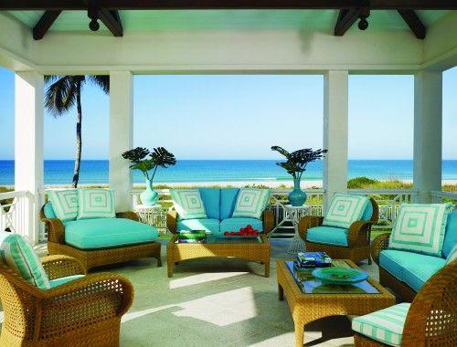 outdoor porch ideasDecor, Beach House, Dreams, Colors, The Ocean, Wicker Furniture, Porches, Outdoor Spaces, Beachhouse