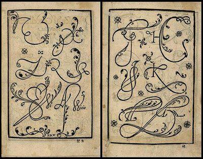 Letters from Arte Subtilissima, por la Qual se Enseña a Escreuir Perfectamente (1550) by Juan de Yciar.