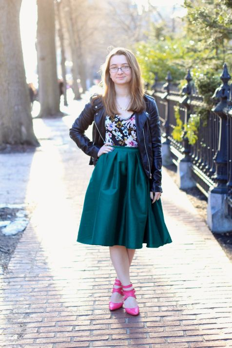 Trends and Tolstoy rings in springtime in a colorful midi skirt and sassy heels.