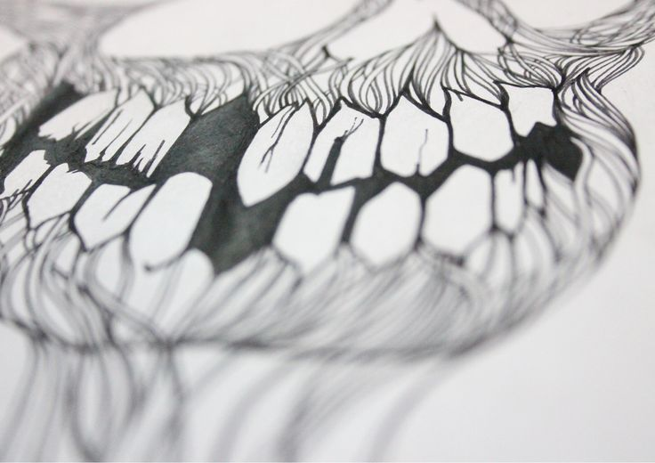 Close up of a previously uploaded design #linework #fineliner #skulls #teeth