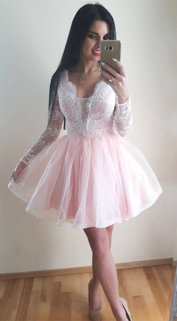 5c1200e1d901e long sleeve white lace short homecoming dresses, vintage pink tulle prom  party dress for teens, semi formal dress #homecoming