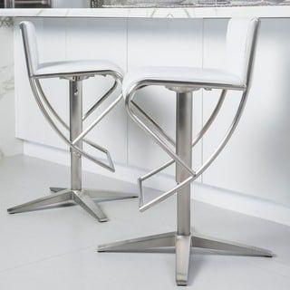 Brushed Stainless Steel X Base Diamond Pattern Low-back Adjustable-height Swivel Bar Stool