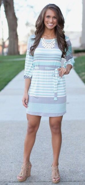 2017 Spring & Summer fashion! Take the stress out of shopping for clothes & ask your Stitch Fix stylist to send you items like these. Delivered right to your door! #stitchfix #Sponsored Striped long sleeved dress, pastels
