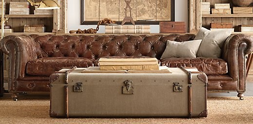 Canvas  Leather Wrapped Trunk for Living Room Coffee table Restoration Hardware For the Home Pinterest hardware and