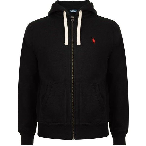 POLO RALPH LAUREN Logo Zip Hood Sweater BRL) ❤ liked on Polyvore featuring mens fashion, mens clothing, mens hoodies, jackets, black, hoodies, shirts,