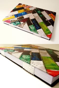 Colorful chevron handmade book with woven spine by Canteiro de Alfaces with cover by Raimundo Rodriguez #bookbinding