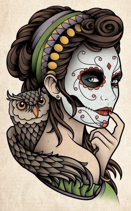 Sam Phillips Tattoo Art Flash ~ Dia de los Muertos Catrina with Owl / Day of the Dead