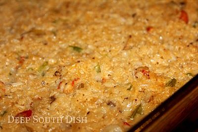 Crawfish Rice Dressing - The recipe says to put the rice in the pan uncooked and it should cook for 1 hr in the oven with the other ingredients. Well of course I didn't have time for that so I cooked the rice separate while I heated up the other ingredients in a skillet. (I also haven't had good luck with putting dry rice in recipes and getting it to cook all the way).  So then I mixed every thing together and then baked covered for about 25 min. Will definitely make again!