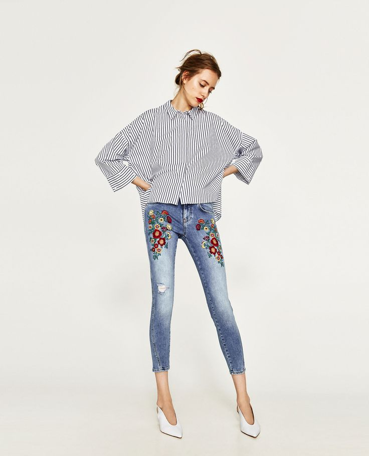 ZARA - WOMAN - EMBROIDERED FLORAL JEANS