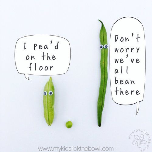 Funny Food Pun Vegetables Peas and Beans  www.mykidslickthebowl.com where food is fun!