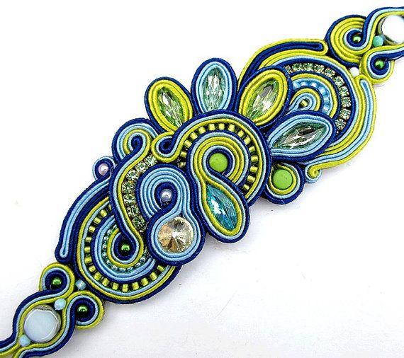 Statement+Bracelet+Blue+Cuff+Soutache+Bracelet+by+IncrediblesTN,+$99.00