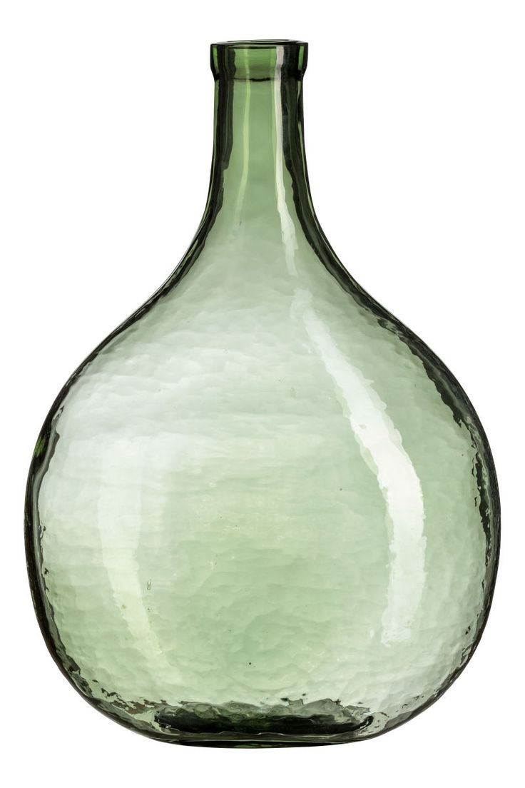 Green. Large glass vase. Inner diameter at top 1 1/4 in., width at widest point 11 in., height 15 3/4 in.