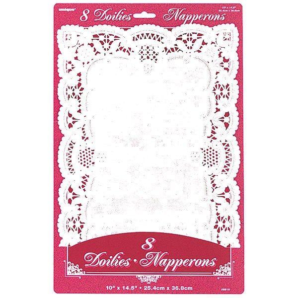 Hvide Firkantede Papir Fadservietter - Pakke med 8