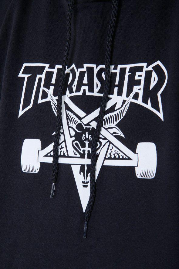 Thrasher - Thrasher Hood Skate Goat, thrusher, mug, tee, black, white, shirt, hood, hoodie, rihanna, outfit, wallpaper, white, black, style, trend, fashion, men, boy, women, girl, skate, skater, skateboard, skateboarding, 2017, magazine, clothing, flame, fire, onfire, blue, goat, skull,