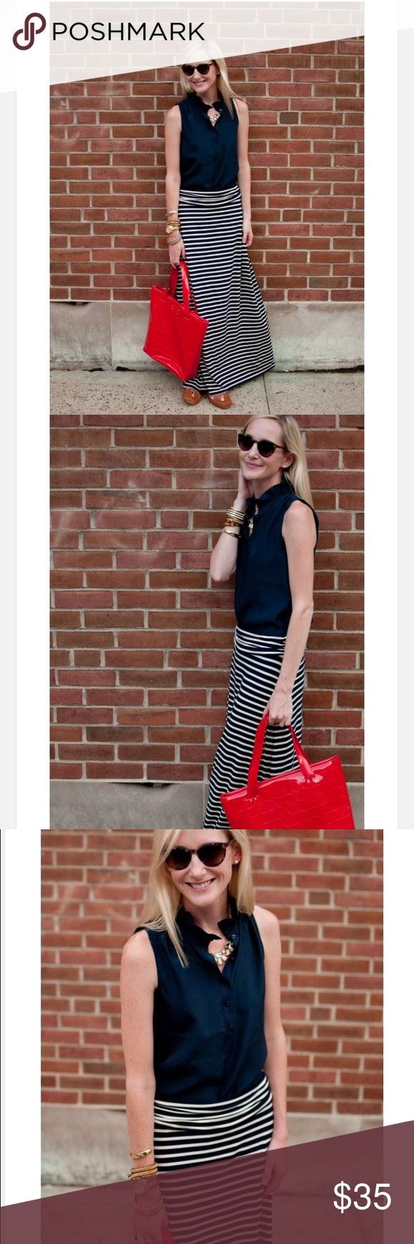 J. Crew black & white striped jersey maxi skirt J. Crew black & white striped jersey maxi skirt in a size small. Only worn twice! No stains or holes! Great for the Summer! So many great ways to wear this skirt and it is so comfortable! J. Crew Skirts Maxi