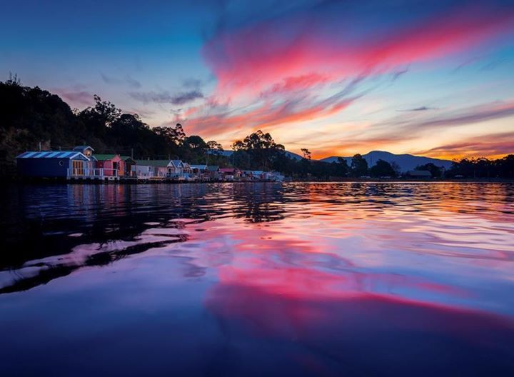 Sunset over the boat houses at Cornelian Bay in Hobart. Image sent in by Paul Fleming - lovethywalrus