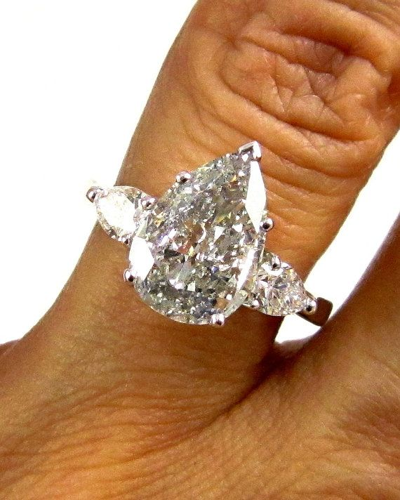 Estate Vintage EGL USA 2.67ct Classic PEAR Cut Diamond Engagement Ring in Platinum with Pear Shapes, Circa 1960