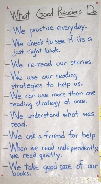 "~ first week of Readers' Workshop ~ anchor chart explaining ""What Good Readers Do"" ~"