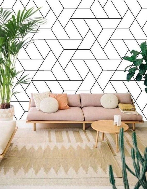 Geometric Monochrome Wallpaper Self Adhesive Wallpaper Modern