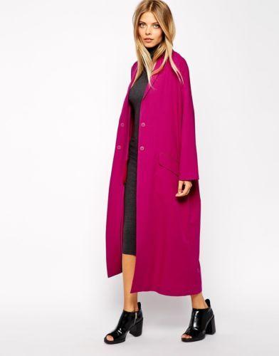 ASOS Ladies Longline Duster Oversized Maxi Coat/Mac Dark Pink UK ...