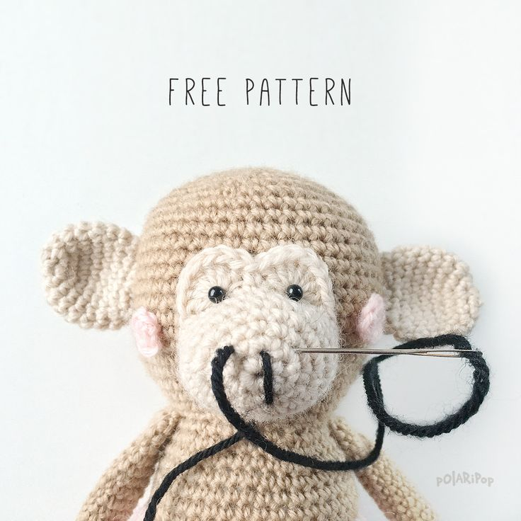 Free amigurumi toy pattern for cute little monkey girl and her family. #amigurum…