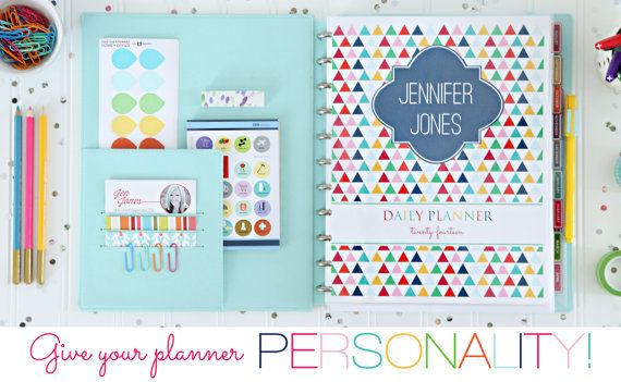 Personalized Daily Planner Coversheet by IHeartOrganizing on Etsy, $4.00    I use many of her printables...they are so cheery and worth every penny!