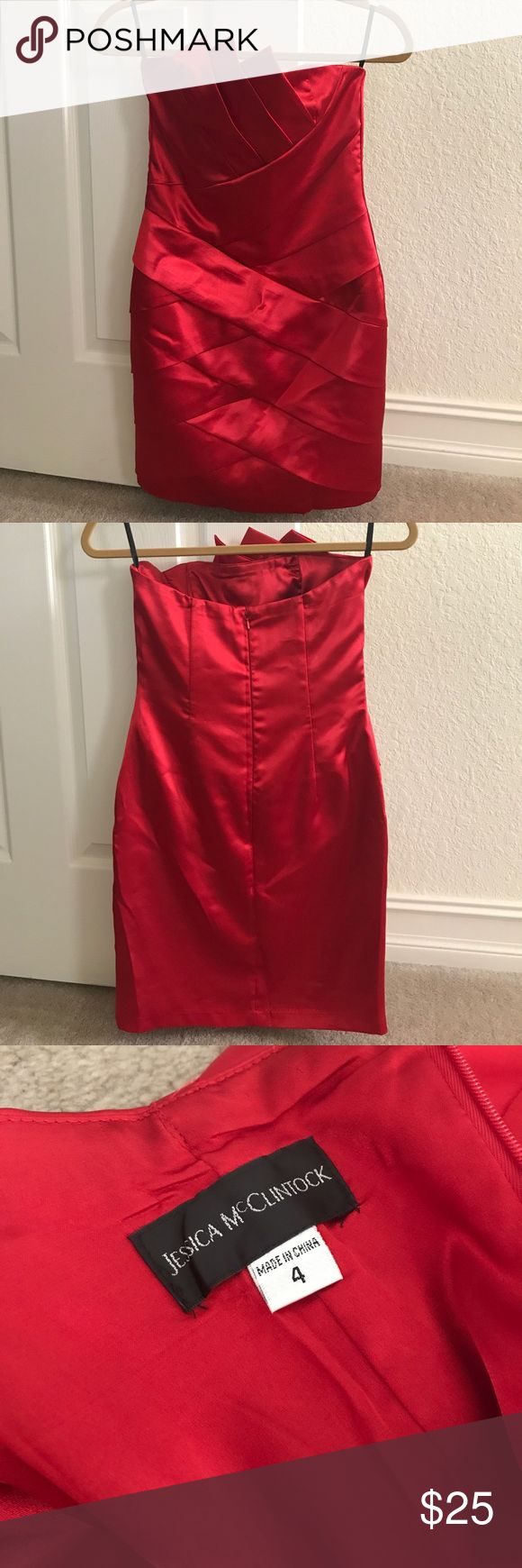 Jessica McClintock red dress Jessica McClintock red dress size 4- perfect condition -kept in a smoke free home Jessica McClintock Dresses Strapless