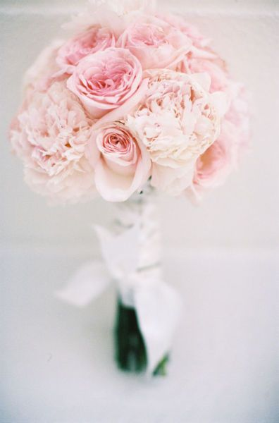 I like the peony colors in this one, but the rose color is a little too pink.  Also a good size for a bridesmaid bouquet.