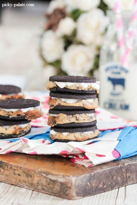 Warm Baked Chocolate Chip Cookie Stuffed Oreos | Recipe