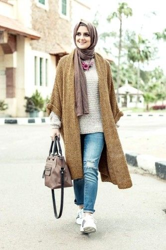 Neutral tan hijab casual sporty with adidas stan smith