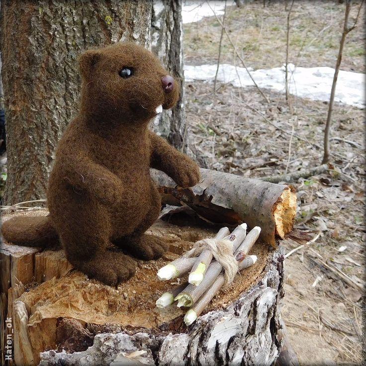Купить Добрый Бобр - коричневый, бобр, бобренок, Бобер, бобр валянный, бобер из шерсти