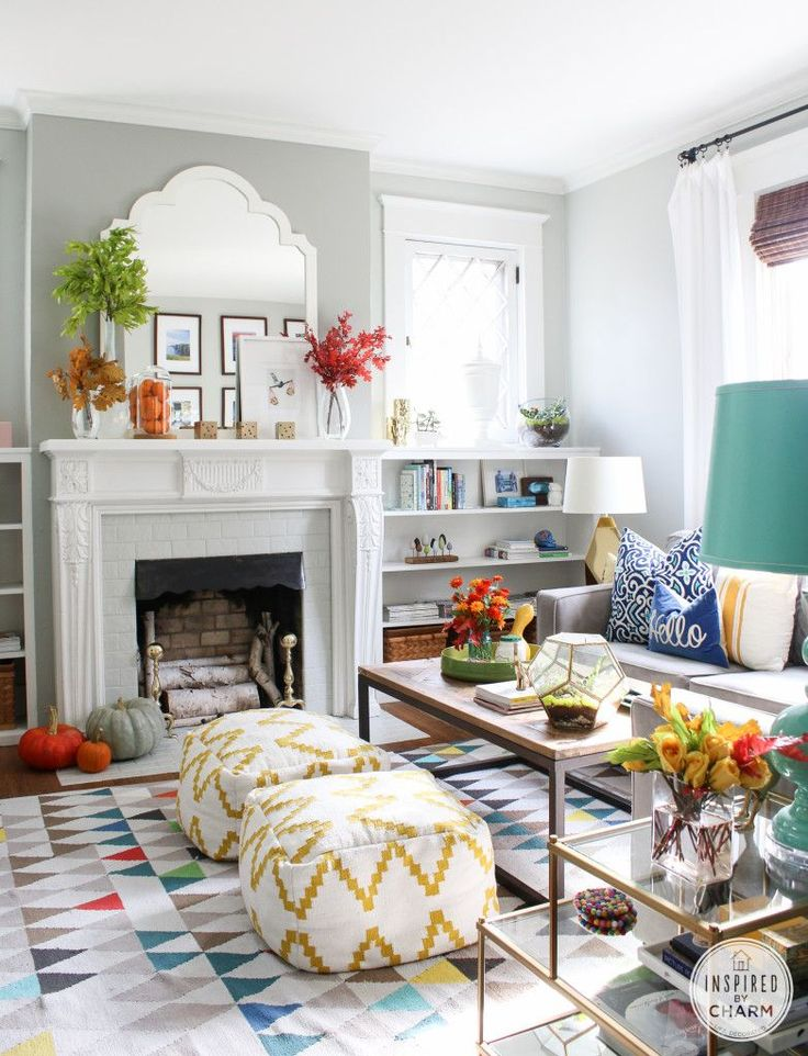 Fantastic mix of patterns in a living room - love the rug