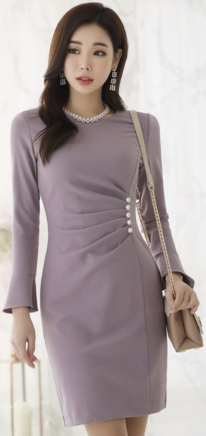 StyleOnme_Pearl Accent Shirred Dress #pearl #dress #elegant #koreanfashion #ksty…