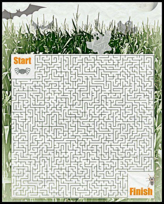 free halloween corn maze printable puzzle activity game