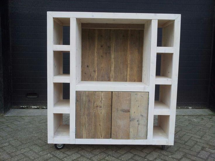Steigerhout tvkast roomdevider van nieuw en gebruikt steigerhout gaaf pinterest van - Tv hoek meubels ...