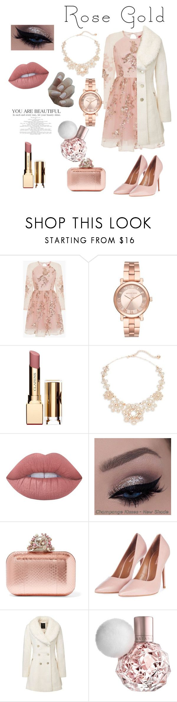 """""""Rose gold"""" by bareyshka-1 ❤ liked on Polyvore featuring beauty, Chi Chi, Michael Kors, Clarins, Kate Spade, Lime Crime, Jimmy Choo and Topshop"""
