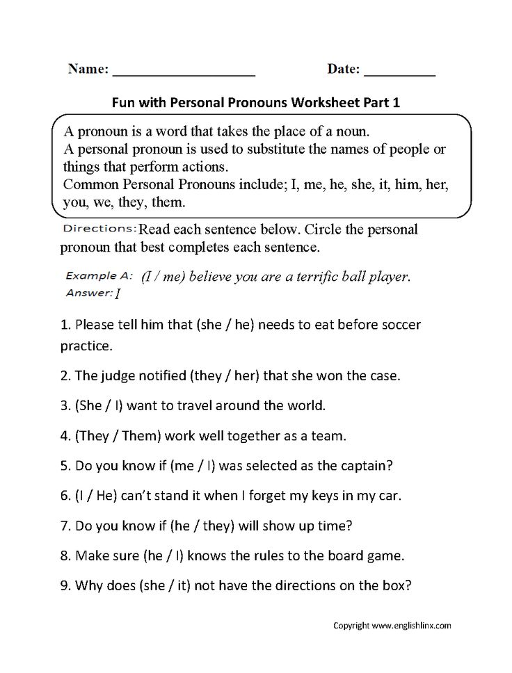 Fun with Personal Pronouns Worksheets Part 1