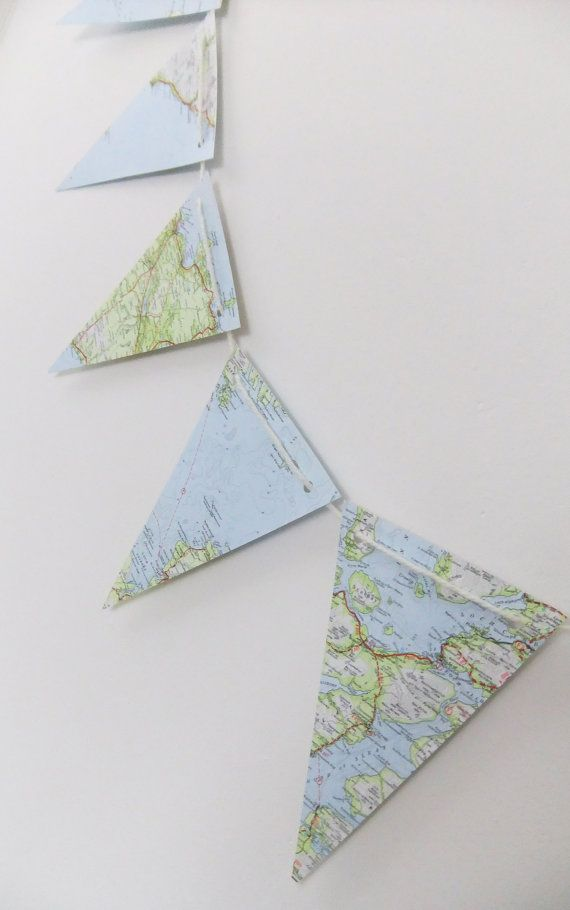 Scottish Map Bunting upcycled bunting recycled by peonyandthistle, £8.00