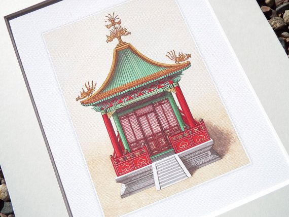 Chinoiserie pagoda architectural drawing 3 archival quality print on watercolor paper