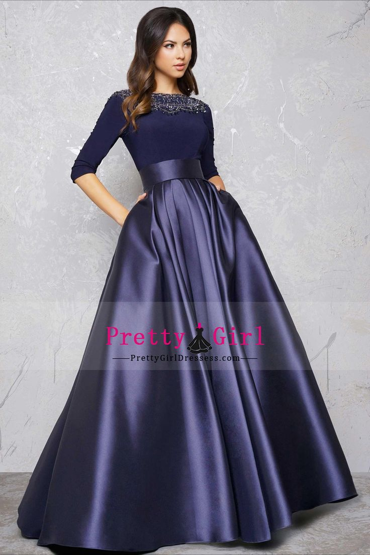 2017 Scoop Prom Dresses 3/4 Length Sleeves Satin With Beads A Line US$ 159.99 PGDPH48EFNH - PrettyGirlDressess.com for mobile