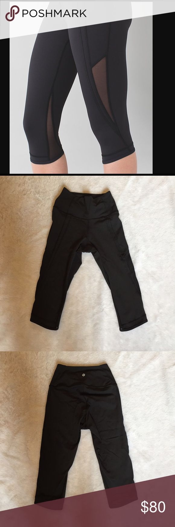 Lululemon drop it like its hot crops 🎀 lululemon crops 🎀 Size 4 🎀 worn a couple times 🎀 black with mesh 🎀Please ask for additional pictures, measurements, or ask questions before purchase. 🎀No trades or other apps. 🎀Ships next business day, unless noted in my closet  🎀Reasonable offers accepted through the offer button 🎀Five star rating 🎀Bundle for discount lululemon athletica Pants